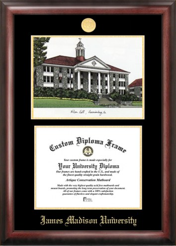 James Madison Dukes Gold Embossed Diploma Frame with Lithograph