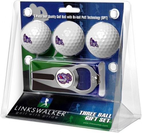 James Madison Dukes Golf Ball Gift Pack with Hat Trick Divot Tool