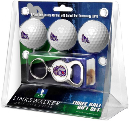James Madison Dukes Golf Ball Gift Pack with Key Chain