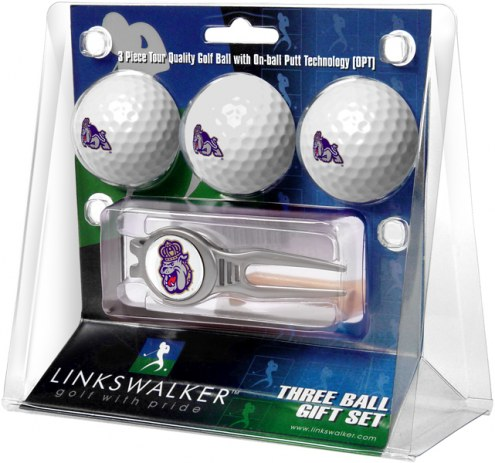 James Madison Dukes Golf Ball Gift Pack with Kool Tool