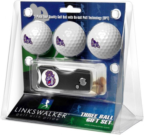 James Madison Dukes Golf Ball Gift Pack with Spring Action Divot Tool