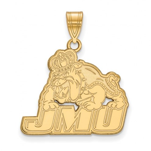 James Madison Dukes NCAA Sterling Silver Gold Plated Large Pendant