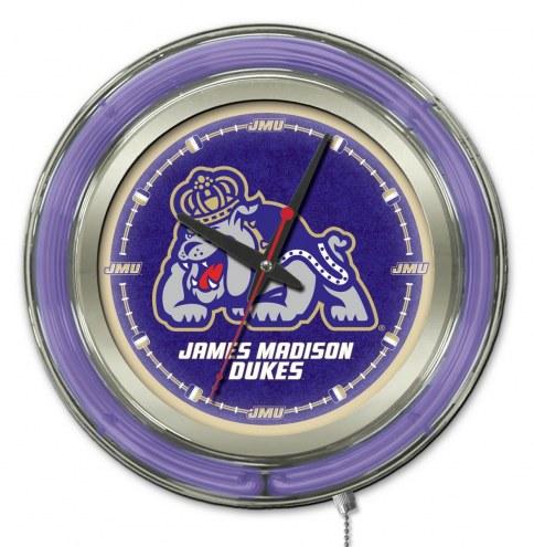James Madison Dukes Neon Clock