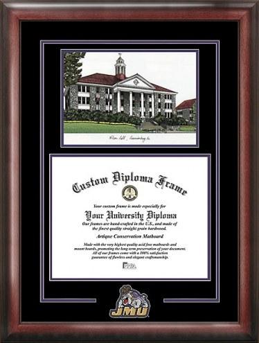 James Madison Dukes Spirit Diploma Frame with Campus Image