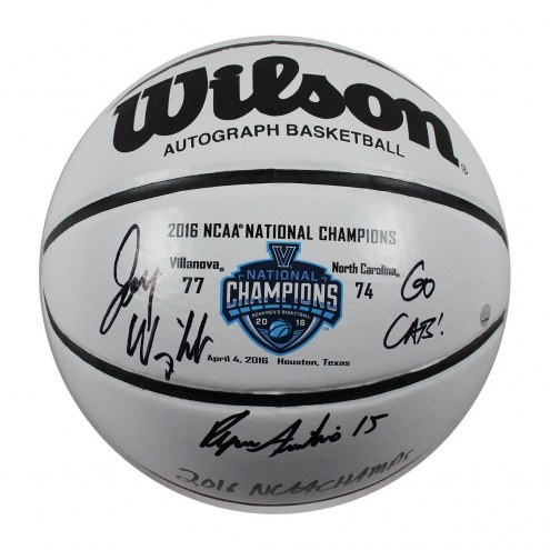 Jay Wright and Ryan Arcidiacono Dual Signed and Inscribed Wilson NCAA 2016 Championship White Panel Basketball