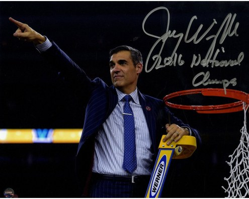 """Jay Wright Signed Cutting the Net after the 2016 National Championship Game 8x10 Photo w/ """"2016 National Champs"""" Insc"""