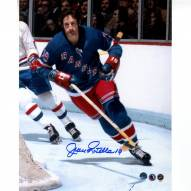 Jean Ratelle Signed New York Rangers Close Up in Blue Jersey 8 x 10 Photo