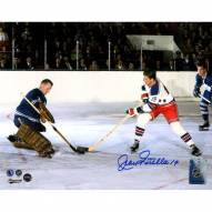 Jean Ratelle Signed New York Rangers in White Jersey 8 x 10 Photo