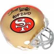 "Jerry Rice Signed San Francisco 49ers Mini Helmet w/ ""HOF 2010"" Insc"