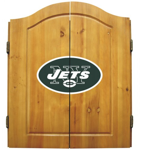 New York Jets NFL Complete Dart Board Cabinet Set (w/darts & flights)