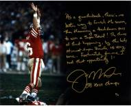 "Joe Montana Drive Story 16 x 20 Photo w/ ""SB XXIII Champs"" Insc."
