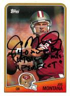 "Joe Montana Signed 1988 Topps Card w/""4-0 in SB 11TD's - Oint's  Perfect"" Insc."