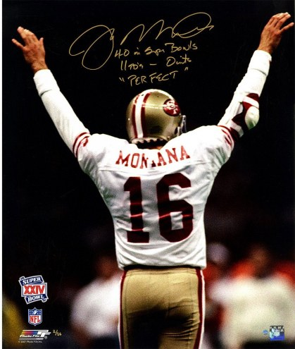 "Joe Montana Signed Arms Raised SB XXIV 20x24 Photo w/ ""4-0 in Super Bowls 11TD's- 0INT's Perfect"" Inscription"