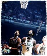 John Havlicek Signed Under Hoop With Russell and Chamberlain 20x24 Canvas w/ HOF insc