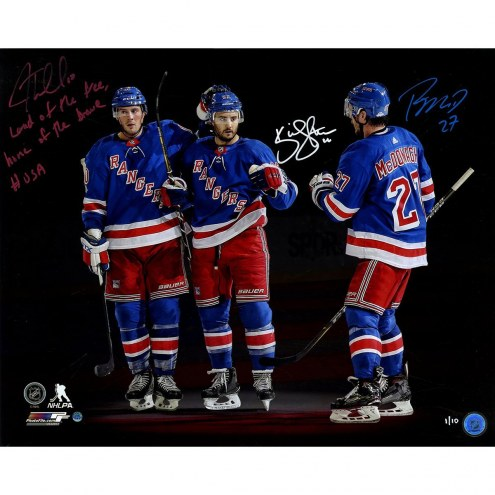 """JT Miller/Kevin Shattenkirk/Ryan McDonagh Triple Signed """"Land of the Free Home of the Brave USA"""" 16x20 Photo"""