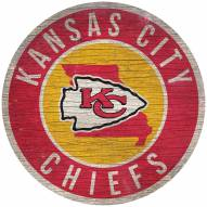 """Kansas City Chiefs 12"""" Circle with State Sign"""