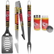 Kansas City Chiefs 3 Piece Tailgater BBQ Set and Salt and Pepper Shaker Set