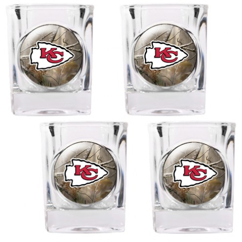 Kansas City Chiefs Open Field 4-Piece RealTree Square Shot Glass Set