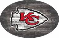 """Kansas City Chiefs 46"""" Distressed Wood Oval Sign"""