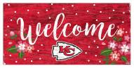 """Kansas City Chiefs 6"""" x 12"""" Floral Welcome Sign"""