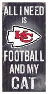 "Kansas City Chiefs 6"" x 12"" Football & My Cat Sign"