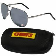 Kansas City Chiefs Aviator Sunglasses and Zippered Carrying Case