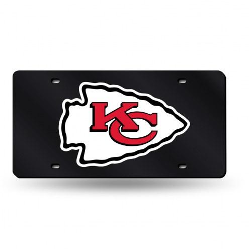 Kansas City Chiefs Black Laser Cut License Plate
