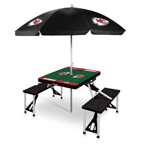 Kansas City Chiefs Black Picnic Table w/Umbrella