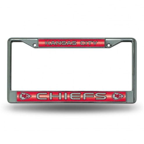 Kansas City Chiefs Chrome Glitter License Plate Frame