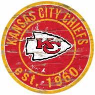 Kansas City Chiefs Distressed Round Sign