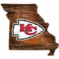 Kansas City Chiefs Distressed State with Logo Sign