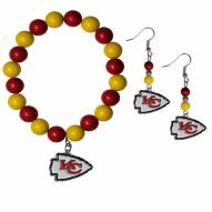 Kansas City Chiefs Fan Bead Earrings & Bracelet Set