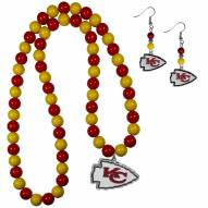 Kansas City Chiefs Fan Bead Earrings & Necklace Set
