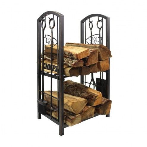 Kansas City Chiefs Fireplace Wood Holder & Tool Set