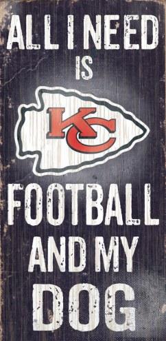 Kansas City Chiefs Football & Dog Wood Sign