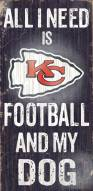Kansas City Chiefs Football & Dog Wood Sign