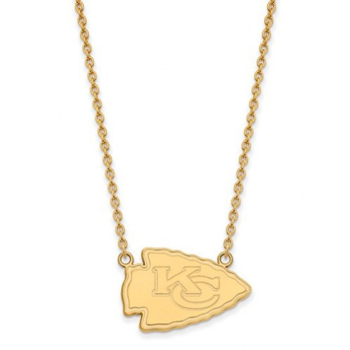 Kansas City Chiefs Sterling Silver Gold Plated Large Pendant with Necklace
