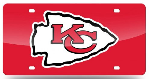Kansas City Chiefs Laser Cut Red License Plate