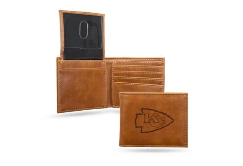 Kansas City Chiefs Laser Engraved Brown Billfold Wallet