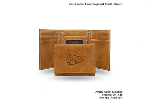 Kansas City Chiefs Laser Engraved Brown Trifold Wallet