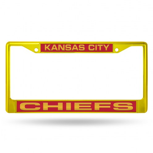 Kansas City Chiefs Laser Yellow Colored Chrome License Plate Frame