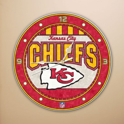 Kansas City Chiefs NFL Stained Glass Wall Clock