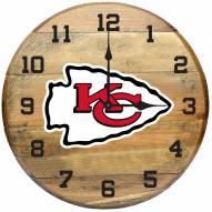 Kansas City Chiefs Oak Barrel Clock