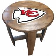 Kansas City Chiefs Oak Barrel Table
