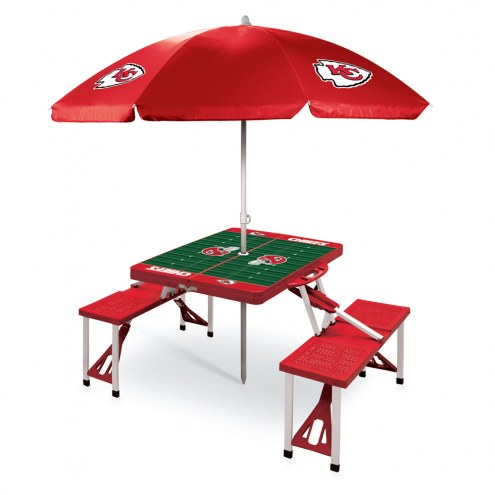 Kansas City Chiefs Red Picnic Table w/Umbrella
