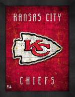 Kansas City Chiefs Retro Logo Map Framed Print