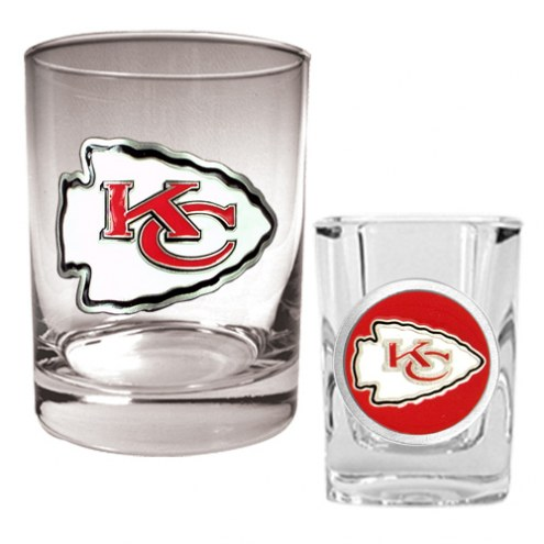 Kansas City Chiefs Rocks Glass & Shot Glass Set