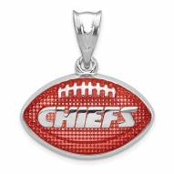 Kansas City Chiefs Sterling Silver Enameled Football Pendant