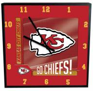 Kansas City Chiefs Team Black Square Clock
