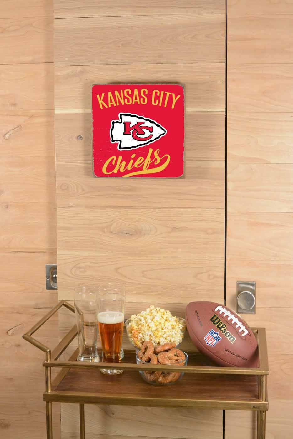 Kansas City Chiefs Vintage Square Wall Sign